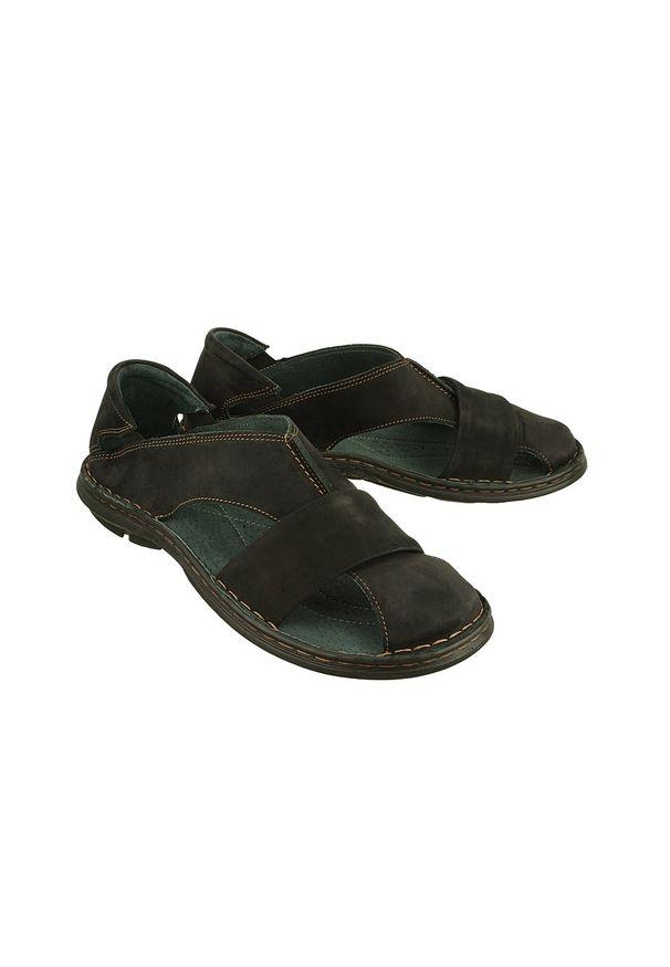 Enzo Peruzzi - ENZO PERUZZI 689 zamsz 757 czarny, sandały męskie. Kolor: czarny. Materiał: zamsz