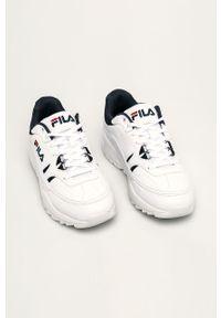 Białe sneakersy Fila z cholewką, na sznurówki, z okrągłym noskiem