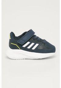 Niebieskie buty sportowe Adidas na rzepy, z cholewką