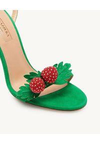 AQUAZZURA - Sandały na szpilce Fragolina. Nosek buta: okrągły. Zapięcie: pasek. Kolor: zielony. Wzór: paski, aplikacja. Obcas: na szpilce