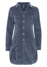 Sukienka sztruksowa ze stretchem bonprix niebieski dymny. Kolor: szary. Materiał: sztruks