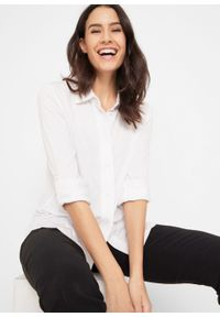 Bluzka shirtowa z plisą guzikową bonprix biały. Kolor: biały. Materiał: wiskoza, elastan, materiał
