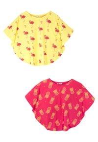 Shirt plażowy dziewczęcy (2 szt.) bonprix jasna limonka - różowy hibiskus. Okazja: na plażę. Kolor: żółty. Materiał: materiał, bawełna. Wzór: nadruk. Sezon: lato