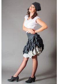 Hultaj Polski - Spódnica podwójnie spieniona damska mini szara. Kolor: szary. Materiał: bawełna, tkanina, elastan, dzianina. Długość: krótkie