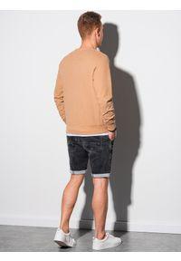 Ombre Clothing - Bluza męska bez kaptura bawełniana B1146 - jasnobrązowa - XXL. Typ kołnierza: bez kaptura. Kolor: brązowy. Materiał: bawełna. Styl: elegancki, klasyczny