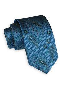 Niebieski krawat Angelo di Monti elegancki, paisley