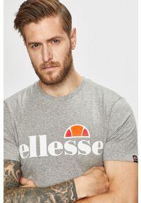 Szary t-shirt Ellesse z nadrukiem, na co dzień, casualowy