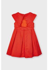 Czerwona sukienka Mayoral mini, gładkie, z krótkim rękawem, rozkloszowana