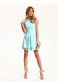 Turkusowa sukienka TOP SECRET elegancka, w kolorowe wzory