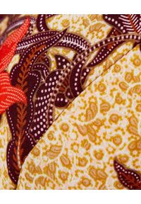 HEDONIC - Sukienka w kwiaty Carla. Typ kołnierza: kołnierz z falbankami. Kolor: brązowy. Materiał: wiskoza. Wzór: kwiaty. Sezon: wiosna, lato. Typ sukienki: kopertowe