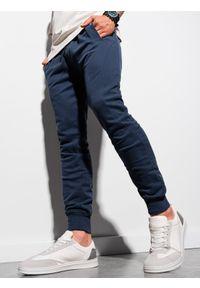 Ombre Clothing - Spodnie męskie dresowe joggery P948 - granatowe - XXL. Kolor: niebieski. Materiał: dresówka
