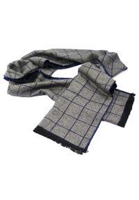 Modini - Granatowo-szary szalik męski w kratę I31. Kolor: niebieski, wielokolorowy, szary. Materiał: wiskoza
