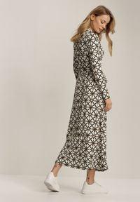 Renee - Biała Sukienka Doriena. Kolor: biały. Materiał: materiał. Długość rękawa: długi rękaw. Wzór: aplikacja, geometria, nadruk. Typ sukienki: kopertowe. Długość: maxi
