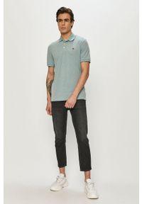 Niebieska koszulka polo Premium by Jack&Jones gładkie, polo, na co dzień, casualowa