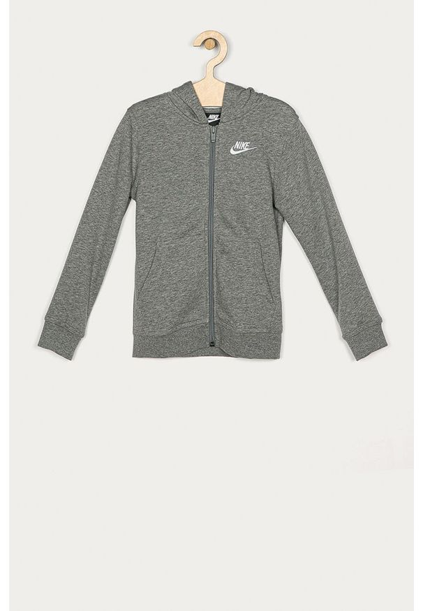 Szara bluza rozpinana Nike Kids casualowa, na co dzień, z kapturem