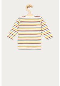 Żółta bluzka z długim rękawem Name it z okrągłym kołnierzem, na co dzień, z nadrukiem