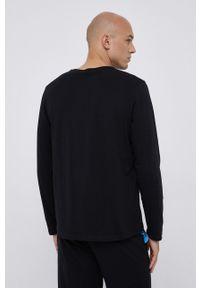 BOSS - Boss - Longsleeve. Kolor: czarny. Materiał: bawełna. Długość rękawa: długi rękaw. Wzór: aplikacja