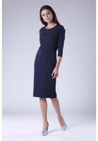 Nommo - Granatowa Klasyczna Dopasowana Sukienka Midi. Kolor: niebieski. Materiał: wiskoza, poliester. Styl: klasyczny. Długość: midi