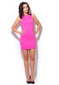 Różowa sukienka Katrus bez rękawów, prosta