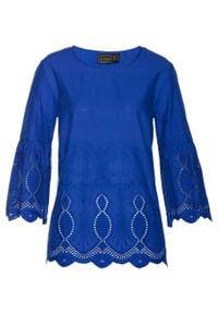 Bluzka bonprix niebieski. Kolor: niebieski. Wzór: haft, ażurowy, aplikacja