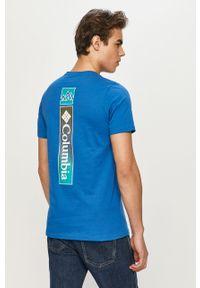 Niebieski t-shirt columbia casualowy, na co dzień, z nadrukiem