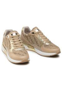 Guess - Sneakersy GUESS - Moxea4 FL6MX4 ESU12 PLATI. Okazja: na co dzień, na spacer. Kolor: beżowy. Materiał: skóra ekologiczna, materiał. Szerokość cholewki: normalna. Sezon: lato. Styl: casual