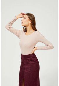 MOODO - Bawełniana bluzka w prążki. Materiał: bawełna. Długość rękawa: długi rękaw. Długość: długie. Wzór: prążki