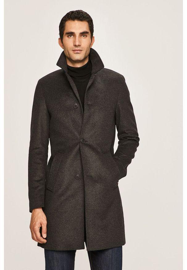 Szary płaszcz Tommy Hilfiger Tailored casualowy, bez kaptura, na co dzień