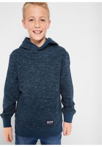 Bluza chłopięca melanżowa z kapturem bonprix niebieski melanż. Typ kołnierza: kaptur. Kolor: niebieski. Wzór: melanż. Styl: sportowy
