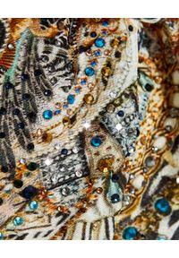 Camilla - CAMILLA - Marszczona sukienka mini Gates of Glory. Kolor: beżowy. Materiał: jedwab. Wzór: aplikacja. Długość: mini