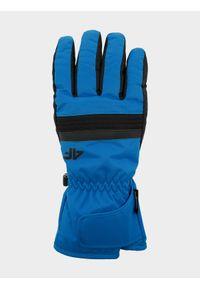 4f - Rękawice narciarskie męskie. Kolor: niebieski. Materiał: materiał, syntetyk. Technologia: Thinsulate. Sport: narciarstwo