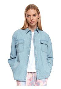 DRYWASH - Denimowa koszula damska z długim rękawem. Okazja: na co dzień. Kolor: niebieski. Materiał: tkanina. Długość rękawa: długi rękaw. Długość: długie. Sezon: lato. Styl: elegancki, casual