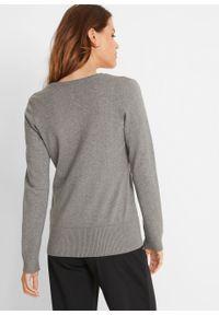 Sweter rozpinany z gładkiej dzianiny z plisą guzikową bonprix szary melanż. Kolor: szary. Materiał: dzianina. Wzór: gładki, melanż