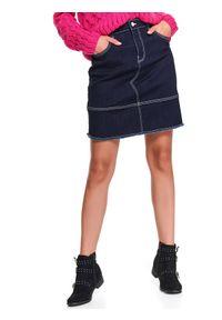 Niebieska spódnica TOP SECRET do pracy, na wiosnę, klasyczna, w kolorowe wzory