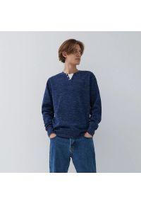 House - Bluza z melanżowej dzianiny basic - Granatowy. Kolor: niebieski. Materiał: dzianina. Wzór: melanż