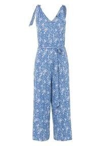 Kombinezon z dżerseju bonprix błękitny w kwiaty. Kolor: niebieski. Materiał: jersey. Wzór: kwiaty