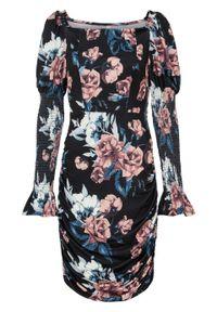 Sukienka bonprix czarny w kwiaty. Kolor: czarny. Wzór: kwiaty