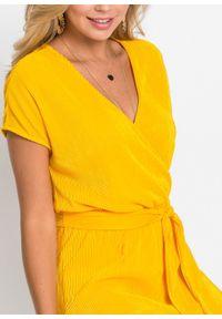 Żółta sukienka bonprix z dekoltem w serek