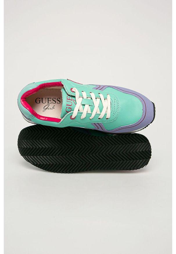 Turkusowe buty sportowe Guess Jeans z cholewką, na sznurówki