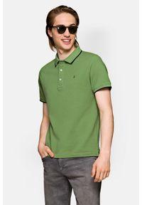 Lancerto - Koszulka Zielona Polo Dominic. Typ kołnierza: polo. Kolor: zielony. Materiał: materiał, tkanina, bawełna, włókno. Długość rękawa: krótki rękaw. Wzór: ze splotem. Styl: klasyczny