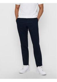 Only & Sons - ONLY & SONS Spodnie materiałowe Mark Kamp 22017711 Granatowy Tapered Fit. Kolor: niebieski. Materiał: materiał