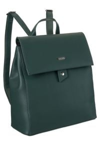 DAVID JONES - Plecak damski zielony David Jones CM6060 GREEN. Kolor: zielony. Materiał: skóra ekologiczna. Wzór: gładki