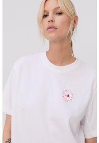 Adidas by Stella McCartney - adidas by Stella McCartney - T-shirt. Okazja: na co dzień. Kolor: biały. Materiał: bawełna, dzianina, poliester. Wzór: nadruk. Styl: casual