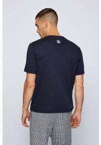 BOSS - Boss - T-shirt bawełniany Boss x Russell Athletic. Kolor: niebieski. Materiał: bawełna. Wzór: nadruk