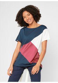 """T-shirt nietoperz """"colorblocking"""" z dekoltem w łódkę bonprix ciemnoniebiesko-dymny malinowy - biel wełny. Kolor: niebieski. Materiał: wełna"""