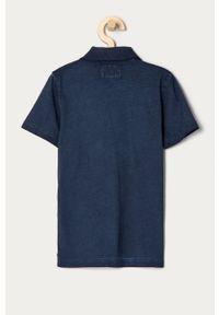 Niebieski t-shirt polo Guess polo, casualowy, gładki, na co dzień