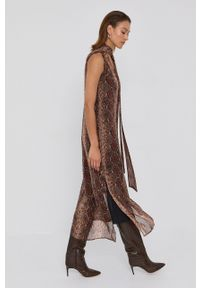 TwinSet - Twinset - Sukienka. Okazja: na co dzień. Kolor: brązowy. Materiał: tkanina. Typ sukienki: asymetryczne, proste. Styl: casual