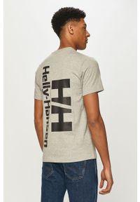 Szary t-shirt Helly Hansen z nadrukiem, na co dzień, casualowy