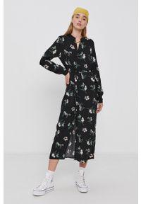 Vero Moda - Sukienka. Okazja: na co dzień. Kolor: czarny. Materiał: tkanina, wiskoza, materiał. Typ sukienki: proste. Styl: casual