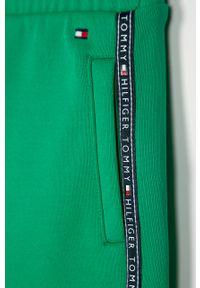 Zielone spodnie dresowe TOMMY HILFIGER casualowe, na co dzień, z aplikacjami